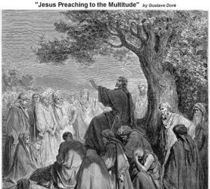 """""""Иисус проповядва пред множеството"""", гравюра от Гюстав Доре"""
